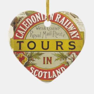 Caledonian Railway. Tours in Scotland. Ceramic Heart Decoration