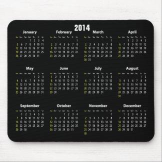 calendar 2014 black color mouse pad