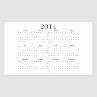 calendar 2014 university Ted States the USA Rectangle Stickers