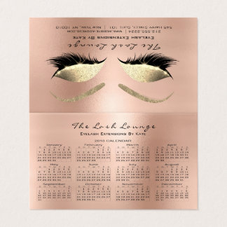Calendar 2018 Beauty Studio Lashes Pink Rose Business Card