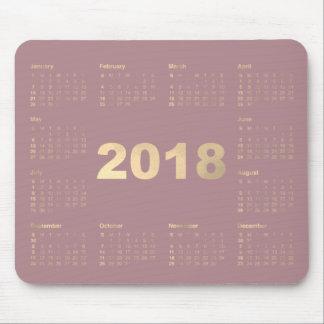 Calendar 2018 Mauve Lavanda Faux Gold Metallic Mouse Mat