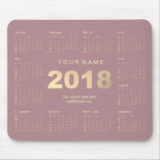 Calendar 2018 Mauve Pink Gold Name Contact Numer Mouse Mat