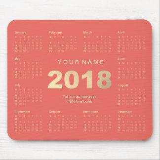 Calendar 2018 White Coral Gold Name Contact Numer Mouse Mat