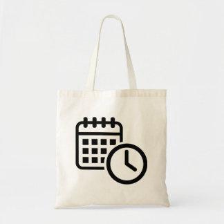 Calendar clock budget tote bag