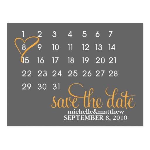 Calendar Wedding Announcement Postcards {orange} Post Card