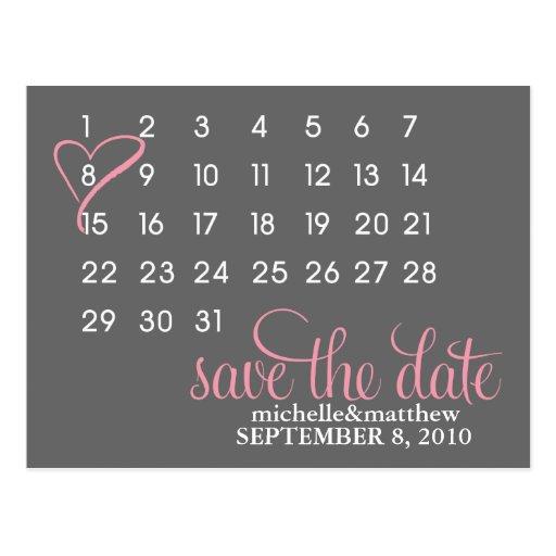 Calendar Wedding Announcement Postcards {pink} Post Card