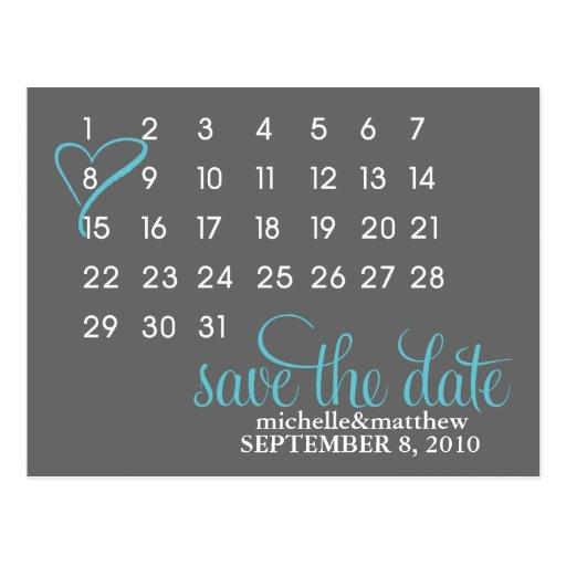Calendar Wedding Announcement Postcards {teal} Post Cards