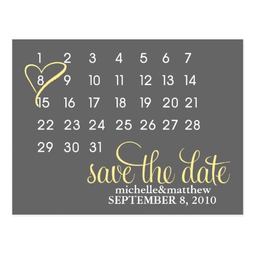 Calendar Wedding Announcement Postcards {yellow} Post Card