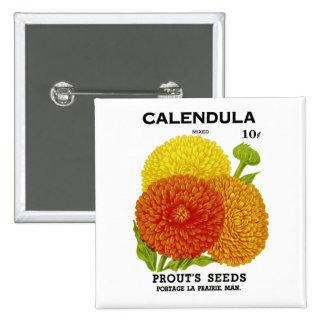 Calendula Vintage Seed Packet 15 Cm Square Badge
