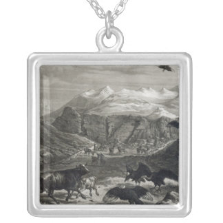 Calf being attacked by the Condors Silver Plated Necklace
