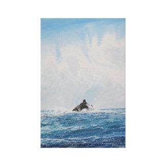 Calf Rock Lighthouse: Watercolor Canvas Print