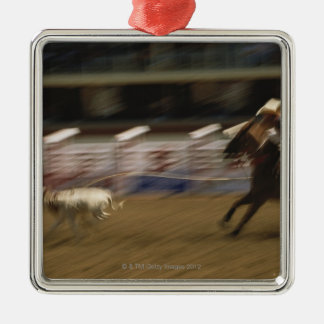 Calf Roping, Calgary Stampede Silver-Colored Square Decoration