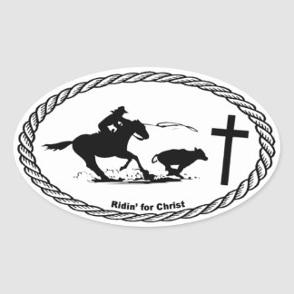 Calf Roping Cross Euro Style Oval Sticker