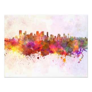 Calgary skyline in watercolor background photo print