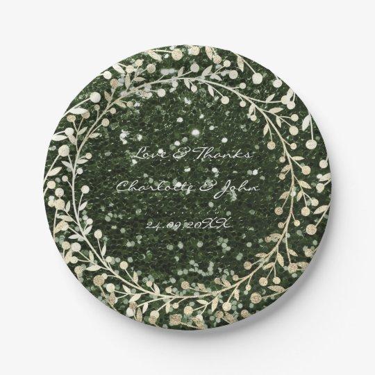 Cali Green Glitter Foxier Gold Wreath Garland Paper