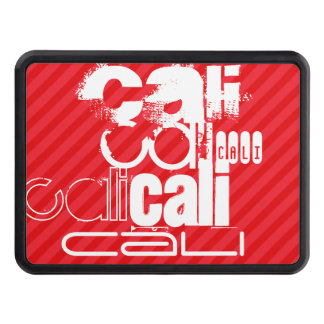 Cali; Scarlet Red Stripes Tow Hitch Covers