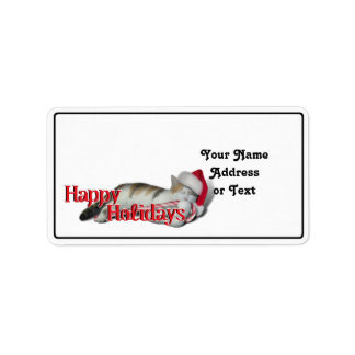 Cali the Calico Christmas Cat (With Text) Address Label