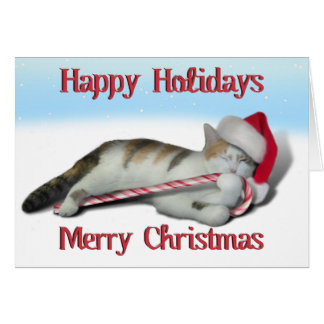 Cali, the Candy Cane Kitty Card