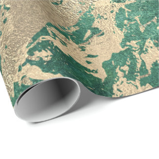Cali Tropical Green Golden  Metallic Glass Strokes Wrapping Paper