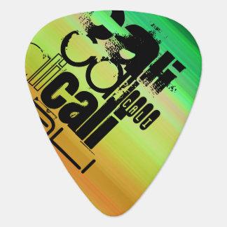 Cali; Vibrant Green, Orange, & Yellow Guitar Pick
