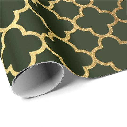 Cali Woodland Green Gold Quatrefoil Art Deco Net