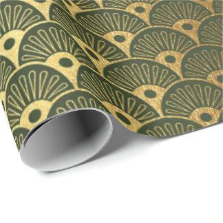 Cali Woodland Green Metallic Seashells Art Deco Wrapping Paper