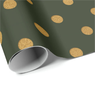 Cali Woodland Green Metallic Small Polka Dots Wrapping Paper