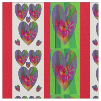 Calico Abstract Hearts Fabric