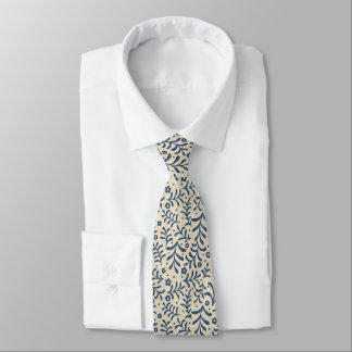 Calico Blue and Cream Faux Denim Tie
