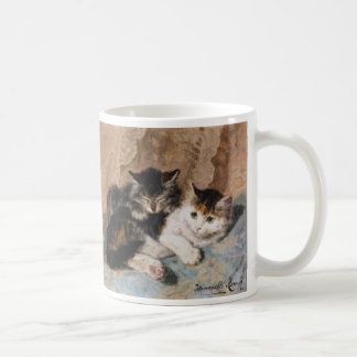 Calico Cat and Gray Kitten Fine Art Painting Basic White Mug