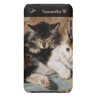 Calico Cat and Gray Kitten Fine Art Painting iPod Case-Mate Cases