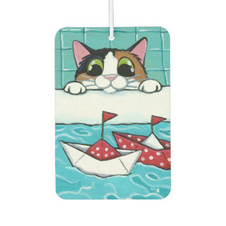 Calico Cat and Paper Sail Boats in Bath Painting