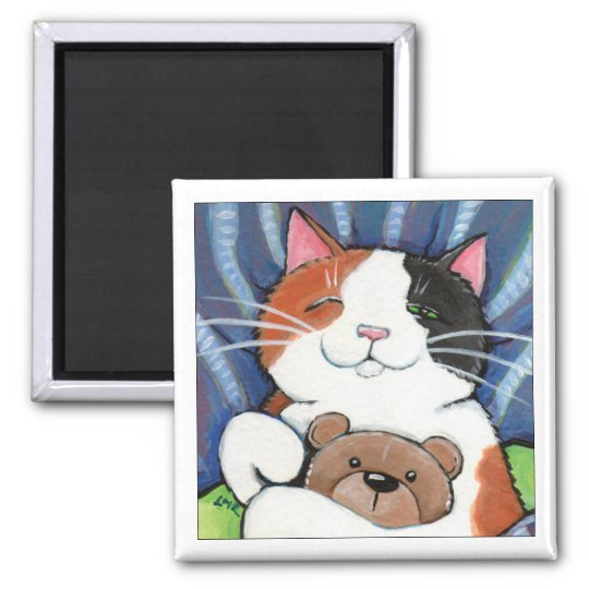 Calico Cat and Teddy Bear | Cat Art