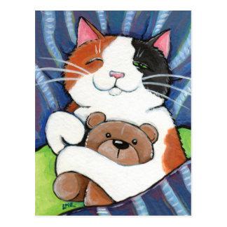 Calico Cat and Teddy Bear   Cat Art Postcard
