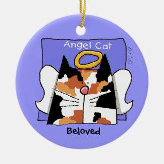 Calico Cat Angel Personalize Round Ceramic Decoration