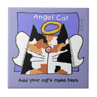 Calico Cat Angel Personalize Small Square Tile