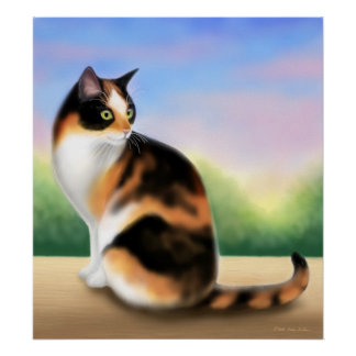 Calico Cat at Sunset Poster