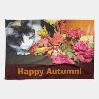 Calico Cat Autumn Towel