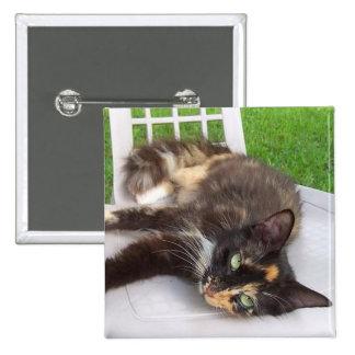 Calico Cat 15 Cm Square Badge
