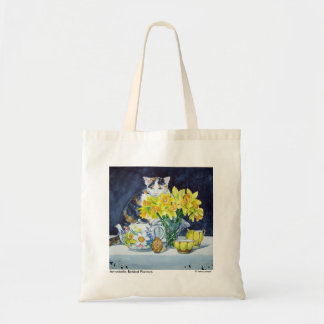 Calico Cat Behind Flowers Tote Bag