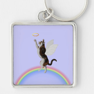Calico Cat Catching Halo Silver-Colored Square Key Ring