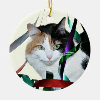Calico cat Christmas ribbon Christmas Ornament
