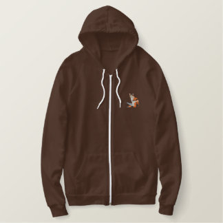 Calico Cat Embroidered Fleece Hoodie