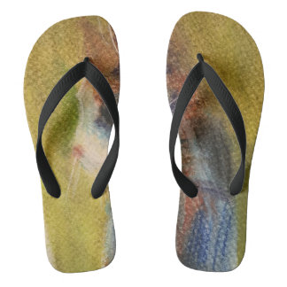 Calico Cat Flip Flops with Art in Soft Pastels
