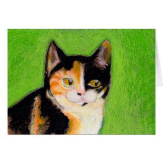 Calico cat kitten art fun cute original drawing greeting card