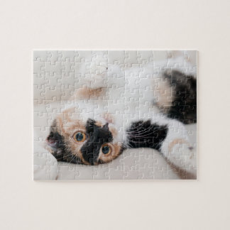 Calico Cat Laying on his back with paws up Jigsaw Puzzle
