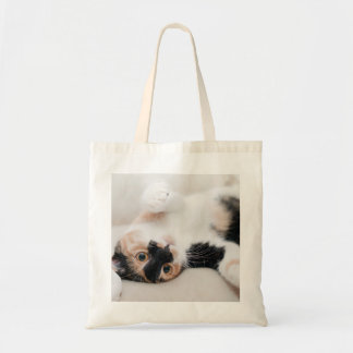 Calico Cat Laying on his back with paws up Budget Tote Bag