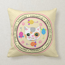 Calico Cat Lover's Kitty Art Throw Pillow