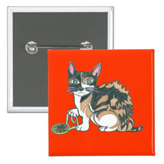 Calico Cat on the prowl 15 Cm Square Badge
