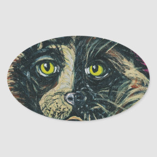 Calico Cat Painting by Ania M Milo Oval Sticker